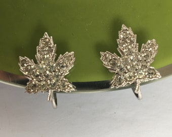 Rhinestone Maple Leaf Earrings