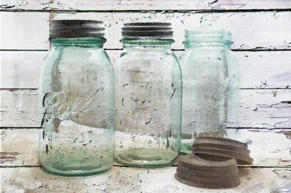 "Old Favorites, Ball Mason Jars, Canvas  Print up to 40"" by Irena Orlov"