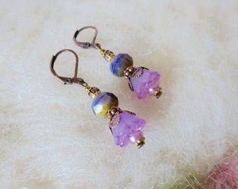 Earrings Purple Glass Bead Victorian Retro Boho Flower Drop Dangle Earrings Vintage Inspired Simple Everyday Jewelry