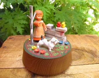 Vintage Anri Music Box - Girl and Dog Woodland Scene - You Light Up My Life Music Box