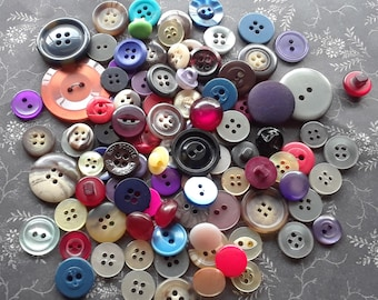 Assorted Plastic Buttons - 100 CLEARANCE Buttons - Blue Purple Pink Black Yellow Buttons - Destash Button Mix Vintage Buttons