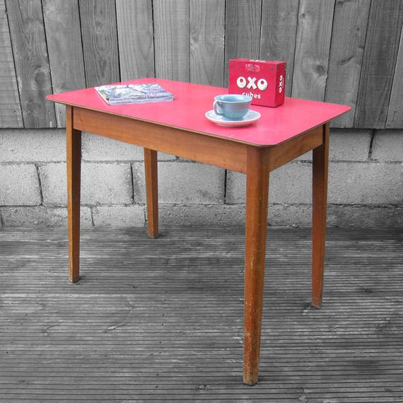 Vintage Red Formica Mid Century Kitsch Table