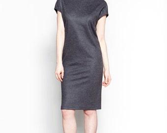 Grey Wool Turtleneck Dress // Short Sleeve Dress // Ami Dress
