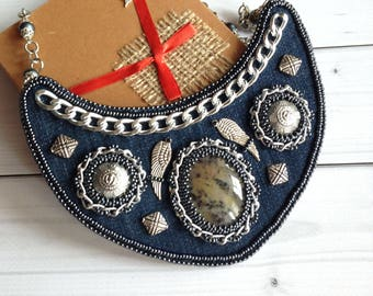 Denim jewelry Embroidered beaded necklace Women gift Rocker necklace for every day necklace Beadwork  Evening jewelry Gift for her