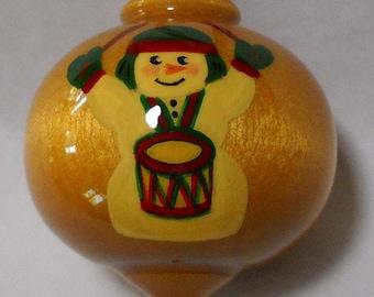 Snowman Ornament, Christmas Decoration, Drummer Boy Christmas Ornament, Hand Painted Wood Ornament, WBO-37