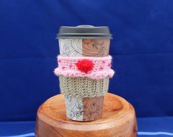 Raspberry Cream Cup Cake Coffee Cup Cozy