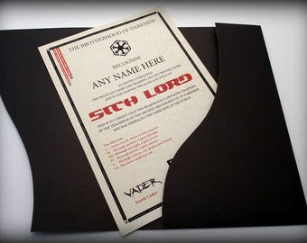 Sith Lord Certificate in a Luxury Presentation Folder - Personalised with the name of your choice