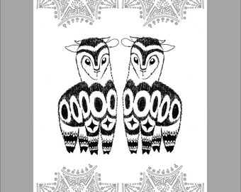 Patterned Alpaca Printable Coloring Sheet