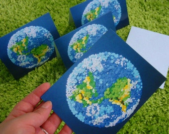 """Dotted Planet Earth - Set of Four (4) Small Greeting Art Cards 4.25"""" X 5.5"""" - NASA Space Exploration 2D Etsy & NASA Contest Finalist DDOTS"""