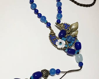 Hand-made Blue Onyx Knitted Necklace