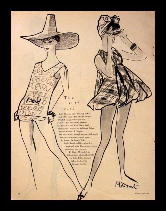 1958 Resort Wear Ad Vogue Fashion Page Summer Swim