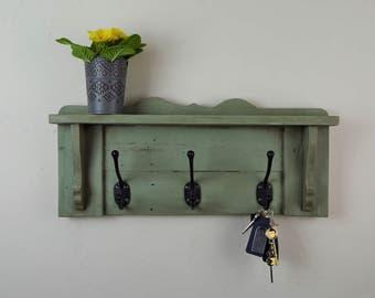 Rustic coat hook rack, wall shelf, handcrafted