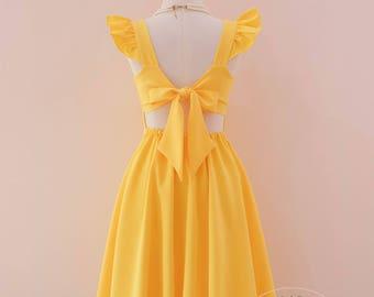 yellow bridesmaid dress women Yellow prom dress yellow party dress vintage dress yellow tea dress wedding guest dress bridal shower dress OS