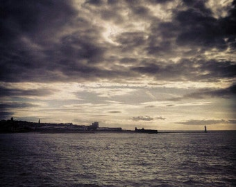 Landscape miniature photography - Silver sunset over Liverpool docklands