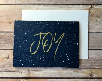 Joy Christmas Card Hand Screen Printed