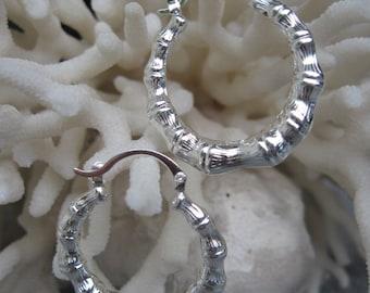 """Bamboo Designed 1-1/4"""" Sterling Silver Hoop Earrings"""