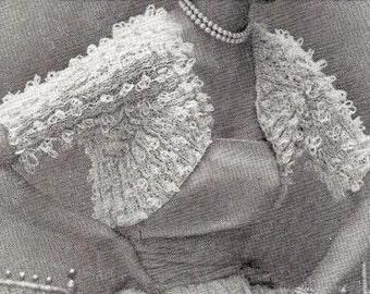 1953 Fan Sleeve Shrug Vintage Knitting Pattern 006