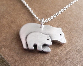 Mother and Baby Bear Necklace, New Mom Necklace, Mother and Child Jewelry, Fine Silver, Sterling Silver Chain, Made To Order