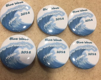 Blue Wave Buttons 1 1/4 in. Pinback 6-Pack SHIPS FREE