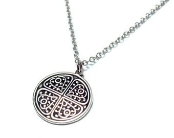 Mens Coin Necklace , Guys Necklace , Circle Necklace , Coin Necklace , Mens Necklace , Necklaces For Men , Mens Silver Necklace