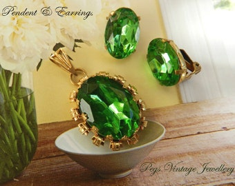 Antique Green Glass Rhinestone Necklace Pendant & Matching Clip Earrings, Vintage Demi Parure Jewelry, Gift Idea