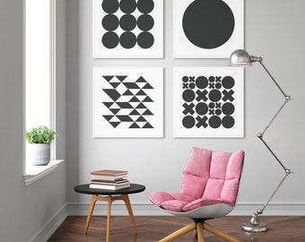 Set of 4, Black and White Midcentury Modern Geometric Abstract Art Print Set, Home Staging, Gallery Wall, Interior Design, Abstract Art