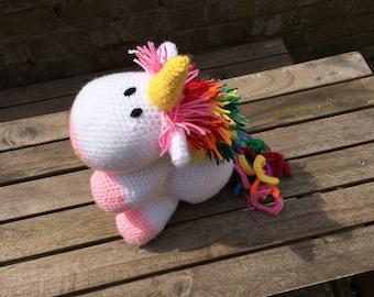Crochet Rainbow Unicorn soft toy plushy
