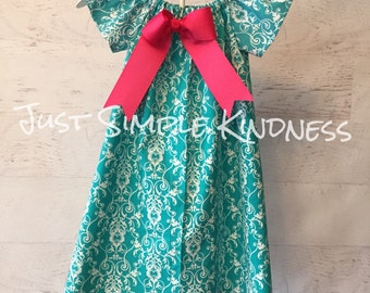 Girls Summer Turquoise Teal Aqua Damask Dress Gray with detachable bow. Girls Easter Dress Girls Damask Dress Baby Easter Dress Spring Dress