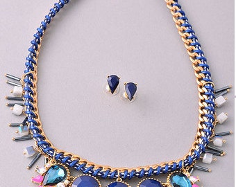 Statement Necklace,mothers day gift, gemstone necklace, choker,bohemian necklace, blue necklace, gold necklace, choker necklace