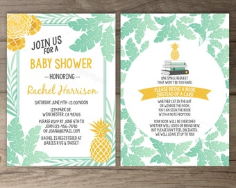 Tropical Baby Shower Invitations • Pineapple Yellow Mint Palm Leaves • bring a book • printable