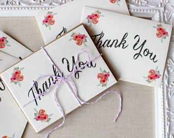 floral watercolor thank you notes - thank you note card set - wedding thanks