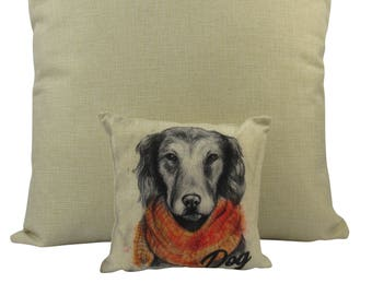 MINI Pencil Sketch Dog   Pillow Cover   Gift for Dog Lover   Throw Pillow   Home Decor   18 x 18 Pillow  Best Dog Gifts   Dog Mom   Dog
