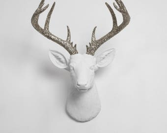 Faux Deer Head - The XL Weston by White Faux Taxidermy - Resin Deer Head w/Silver Glitter Antlers- Stag Resin Faux Taxidermy Modern Wall Art