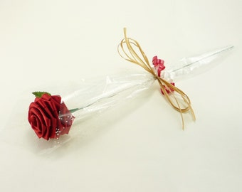 1 Gift Wrapped Single Stem Red Rose ( or Customizable choose your own color!)