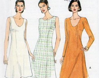 Free Us Ship Sewing Pattern Vogue Woman 9217 Retro 1990s 90's Easy Option Dress Neck Sleeve Variations Size 6 8 10 Bust 30.5 31.5 32.5 Uncut