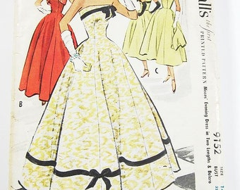 """SZ 14/Bust 32"""" - Vintage 1950s Dress Sewing Pattern - McCalls 9152 - Misses' Evening Dress in Two Lengths with Bolero"""