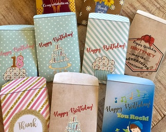 Birthday Gift Card holder, Thank You Gift Card holder, Gift Card Envelopes, Gift Card Holders Birthday Gift Card Envelopes. Set of 10