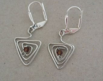Triangle swirl wire and crystal earrings