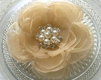 Singed Flower Organza Flower With Pearl and Rhinestone (3-3/4 inches) In Champagne  MY-727-01 Ready To Ship