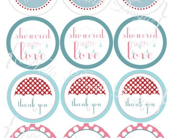 Red, Pink, and Teal Shower Printable Party Favor Tags
