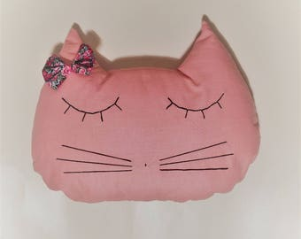 Pink cat shaped cushion / cat / decor. French manufacturing