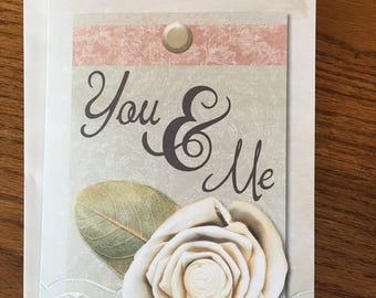 Item #97 - You & Me - I Love You - Wedding / Anniversary / Just Because Greeting Card - Colossians 3:14