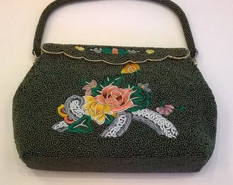 Vintage Beaded and Embroidered Dark Green Purse - Iridescent Beaded Evening Bag