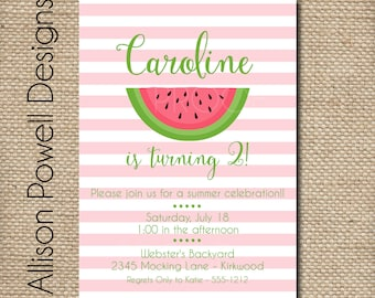 Watermelon Birthday Party Invitation Summer Birthday Party - Print your own - Pink or Red