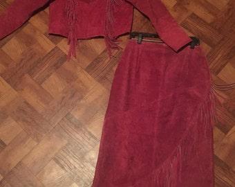 Suede Fringe skirt and jacket