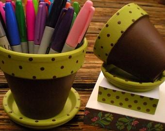 Teacher Gifts - Painted Flower Pot - Desk Decor