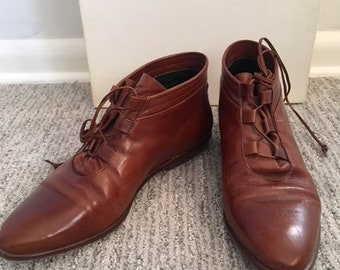 Brown, Leather, Vintage Joan and David Luggage Calf with leather laces Booties size 8