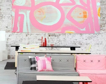 Pinks, pastels, White, Orange, Yellow 36 x 48, Canvas Painting Abstract Minimalist Modern Original Contemporary Artwork