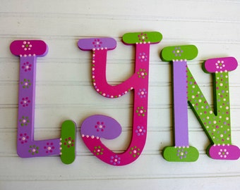 Nursery Letters - Kids Name Letters - Name Wall Letters - Whimsical Font - Girl Name Letters