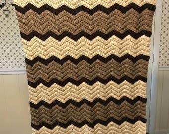 Brown and Beige Ripple Blanket